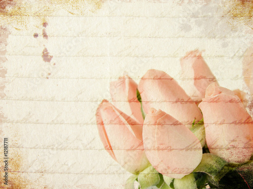Foto op Plexiglas Retro Grunge little pink roses background