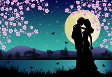 Moonlight On A Lake With A Romantic Couple Under Cherry Trees