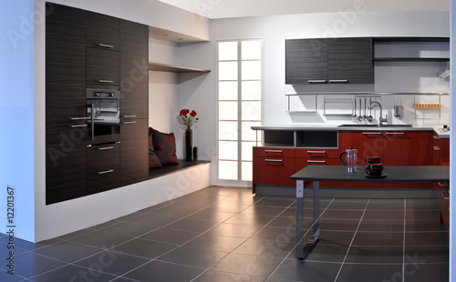 Stitched Panorama de grande cuisine rouge et blanche – kaufen Sie ...