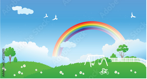 Autocollant pour porte Avion, ballon Spring scene with rainbow