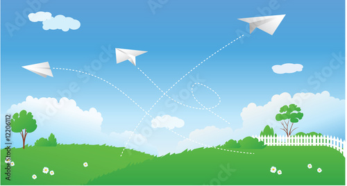 Garden Poster Airplanes, balloon Spring scene with paper planes