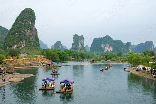 Bamboo rafts at the Ulong river near Yangshuo