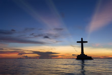 Tropical Sunset With Cross Sil...