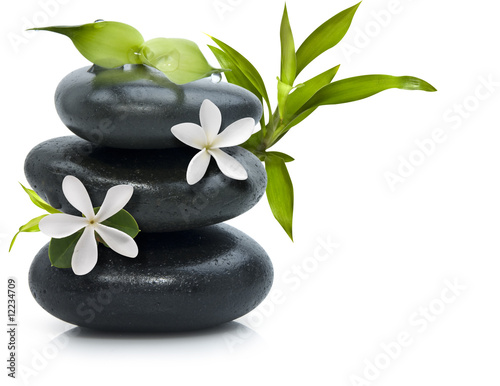 Spa still life with white flowers Wallpaper Mural