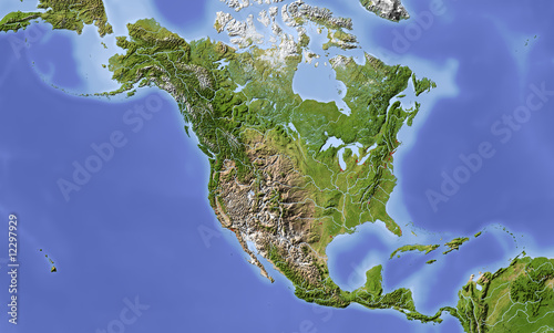 North and Central America, shaded relief map