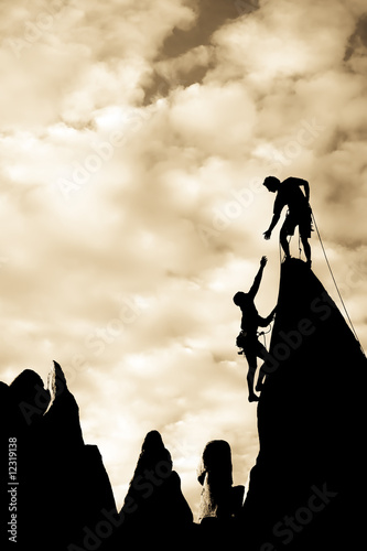 Fotografie, Obraz  Team of climbers on the summit.