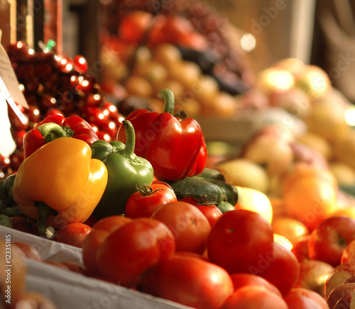 Fresh vegetables and fruits at the market #12335185