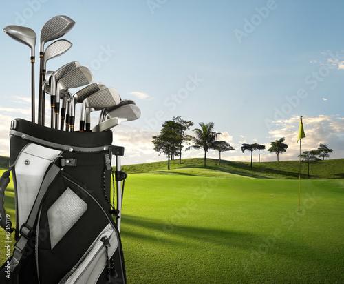 Deurstickers Golf golf equipment and course