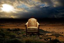 Throne In Desolated Rock Desert