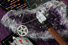 Wiccan Objects With Tarot Cards