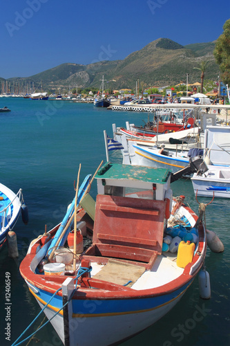 Papiers peints Nautique motorise Fishing boat on the Ionian island of Lefkas Greece