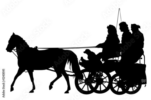 Cuadros en Lienzo horse and carriage silhouette
