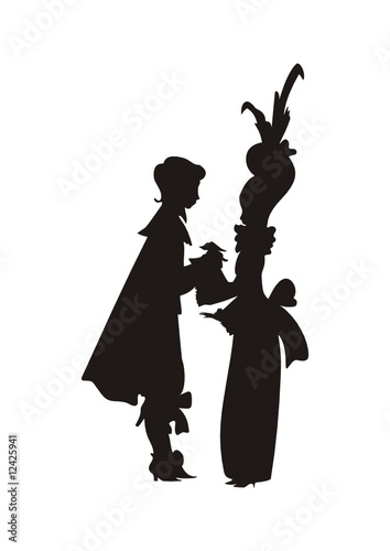 dancing prince and princess silhouette vector buy this stock
