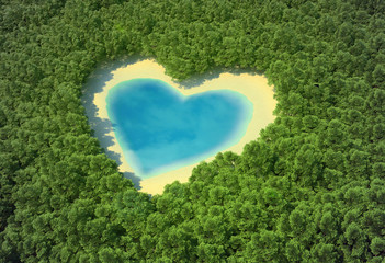FototapetaHeart-shaped pond in a tropical forest