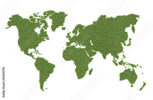 Poster World Map green world