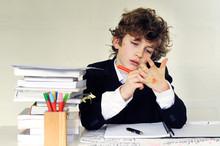 School Boy Writing On His Hand