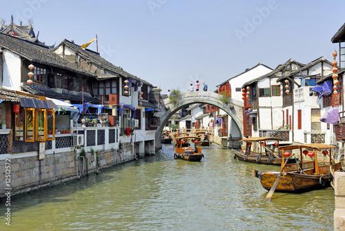 Photo Stands Shanghai China,Shanghai water village Zhujiajiao