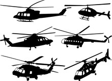 Helicopters Silhouette Collection - Vector