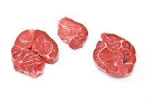 Stewing Steak  Isolated On A White Studio Background.