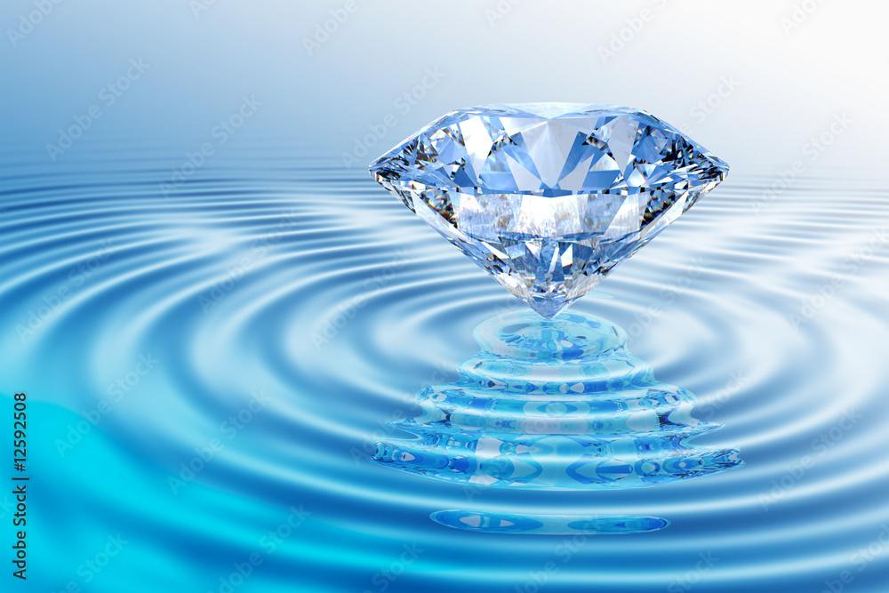 Fototapeta Blue diamond with reflection