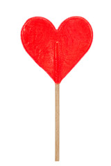 red hear shaped lollipop