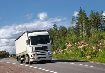 white truck on summer highway