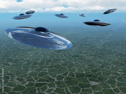 Canvas Prints River, lake Attack of UFO