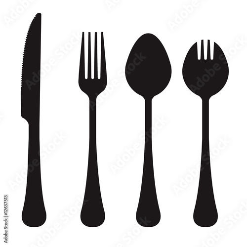 Fotografie, Obraz  Vector silhouette of knife, fork, spoon, and spork