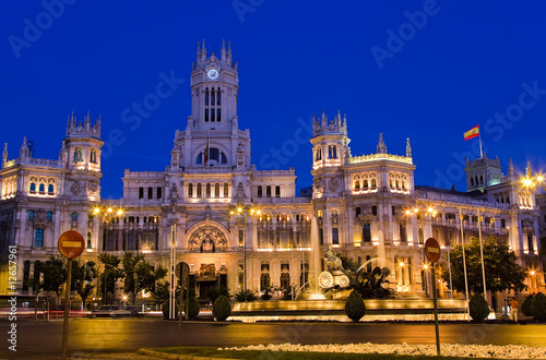 Foto  Plaza de Cibeles at night, Madrid, Spain