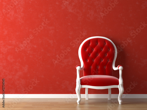 Fotografia, Obraz  red and white interior design
