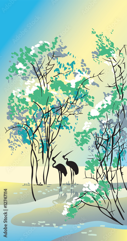Four seasons: summer, Chinese traditional painting style, vector
