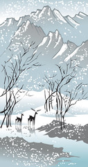 Fototapeta Orientalny Four seasons: winter, Chinese traditional painting style, vector