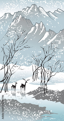 Four seasons: winter, Chinese traditional painting style, vector