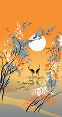 Panel Szklany Orientalny Four seasons: autumn, in Chinese traditional painting style