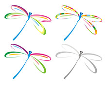 Set Of Color Dragonfly. Vector...