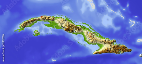 Photo Cuba, shaded relief map, colored for elevation