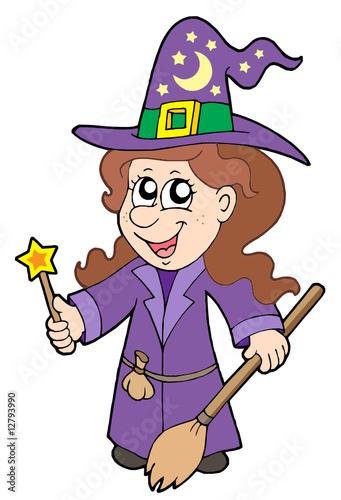 Türaufkleber Wilder Westen Cute wizard girl