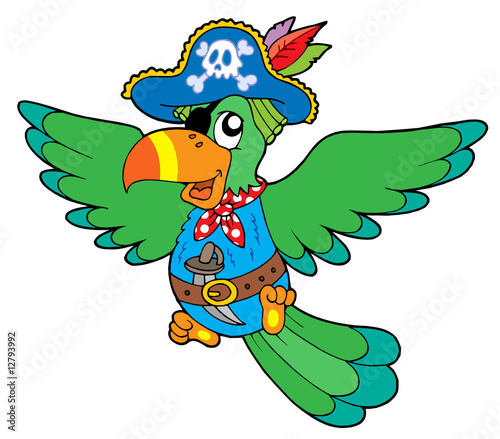 Deurstickers Piraten Flying pirate parrot