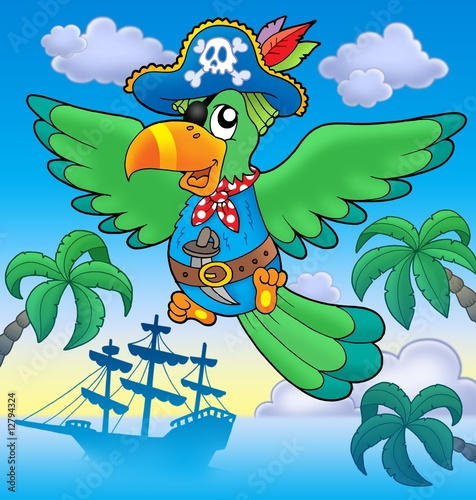 Deurstickers Piraten Flying pirate parrot with boat
