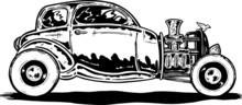 Vintage Style Hotrod Car Illus...