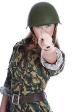 Woman In A Steel Helmet