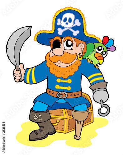 Photo sur Toile Pirates Pirate sitting on treasure chest