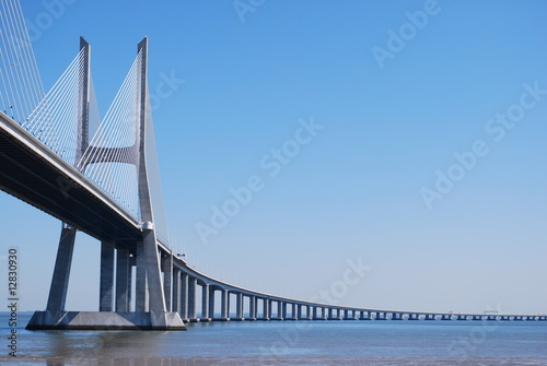 Fotobehang Bruggen 'Vasco da Gama' Bridge over River 'Tejo' in Lisbon (Horizontal)