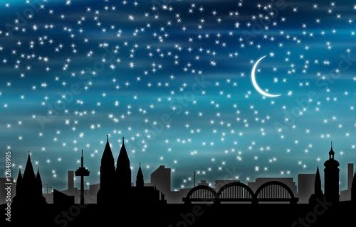 Foto-Kassettenrollo premium - Köln bei Nacht 03 (von graphicsdeluxe)