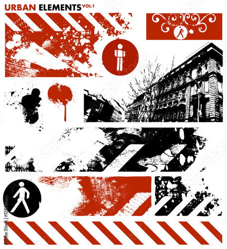 Acrylic Prints Red, black, white urban design elements