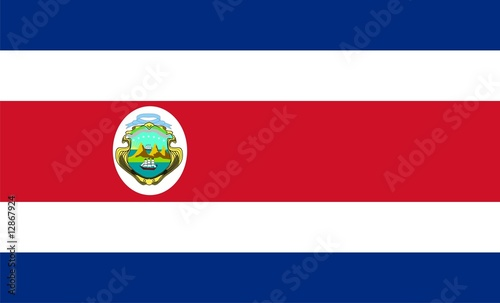 Photo Flag of Costa Rica. Illustration over white background