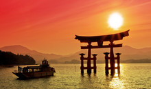Sunset View Of Torii Gate, Miy...