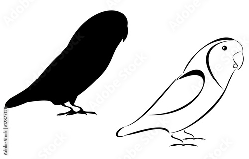 A Tribal and silhouette lovebirds set #12877128