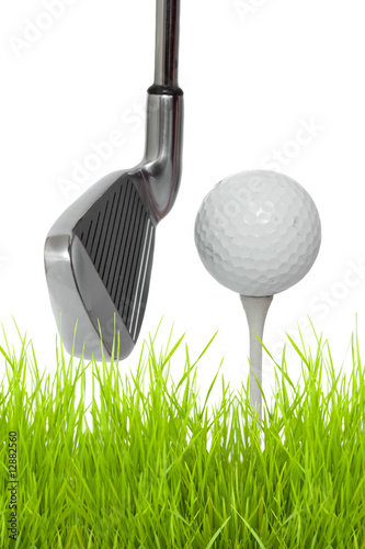 Fototapety, obrazy: close up of a golf club with ball and tee
