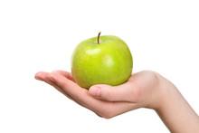 Fresh Green Apple In Hand